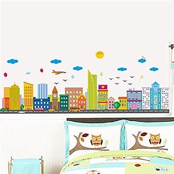 Kuamai Stadt Wolken Wall Sticker Aufkleber Fenster Wohnzimmer Schlafzimmer  Dekoration Neues Jahr Home Decor Poster Wandbild