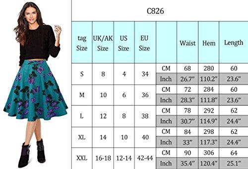 Mena UK Falda de impresión retro Hepburn Falda Puff falda grande en la falda Morado