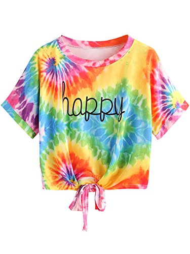 SweatyRocks Women's Tie Dye Letter Print Crop Top T Shirt Multicolor #8 L