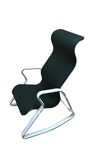 Gentil Ergonomic Modern Looking Rocking Chair With Back Support (Black White)