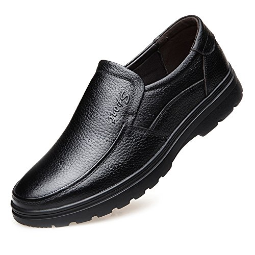 Leather Shoes, Classic Men's Leather Shoes Genuine Cowhide Upper Slip-on Flat Sole Loafer for Gentlemen (Warm Optional) Black