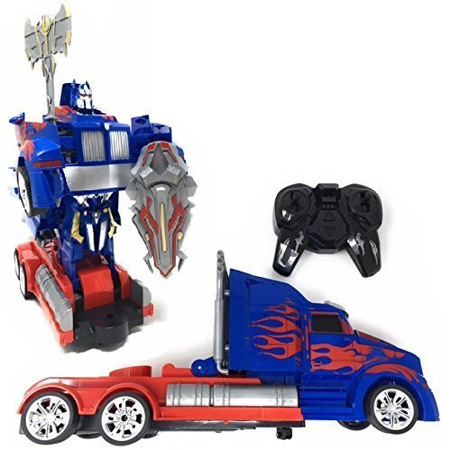 Optimus Prime Electronic (QVM Remote Control Transforming Truck to Robot Toy (2.4GHz) - includes USB Rechargeable Batteries, has Flashing Lights, Music and Realistic Engine Sounds - Compare to famous Optimus - Amazon Prime!)