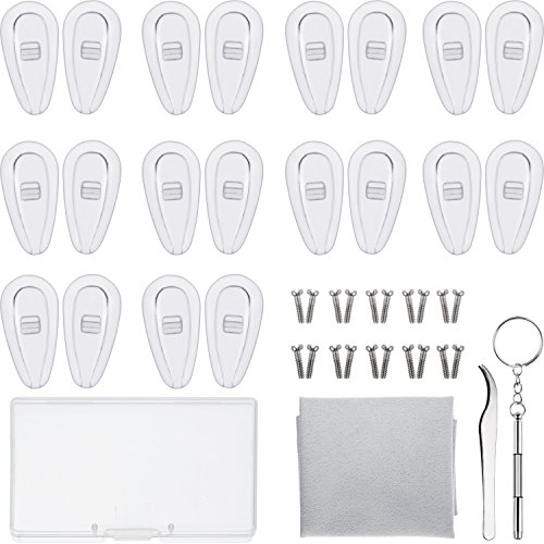 Sumind Eyeglass Repair Kit 10 Pairs Air Chamber Nose Pads Silicone Screw-in Eyewear Nose Pads with Screws Tweezer and Cleaning Cloth (15 mm)