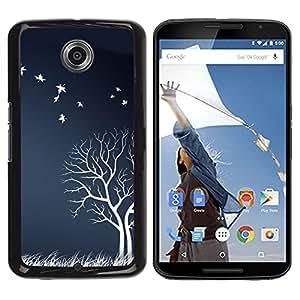 QCASE / Motorola NEXUS 6 / X / Moto X Pro / pájaros árbol blanco campo naturaleza obra de otoño / Delgado Negro Plástico caso cubierta Shell Armor Funda Case Cover