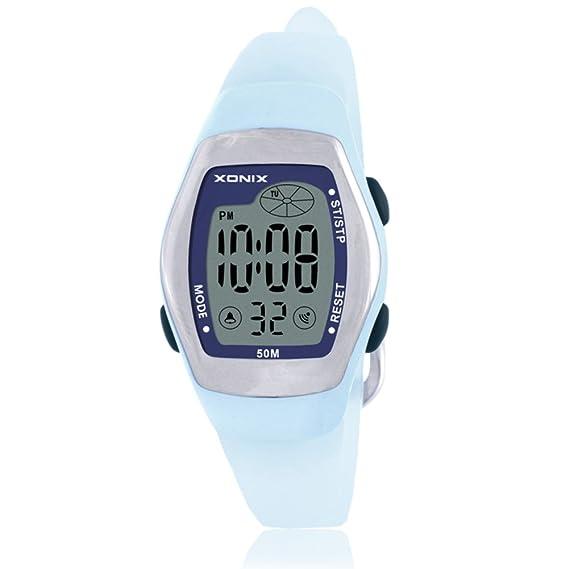 Niños reloj led digital multifunción impermeable natación chica estudiante reloj digital-A