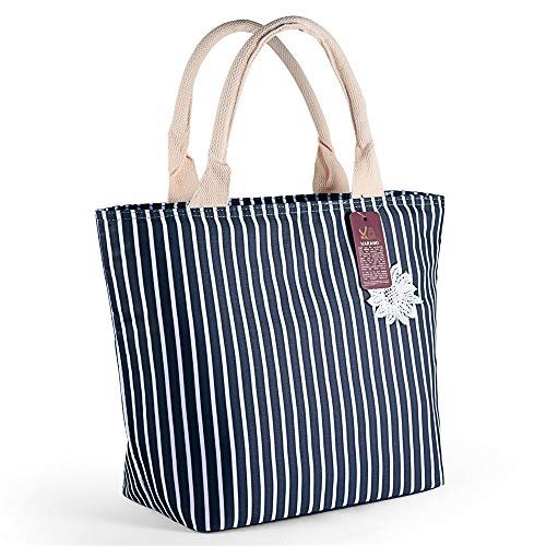 (VARANO Insulated Lunch Box - Lunch Bag for Women and Girls/Large Capacity Adults Reusable Lunch Tote Cooler Organizer Bag (Blue/White Stripe))