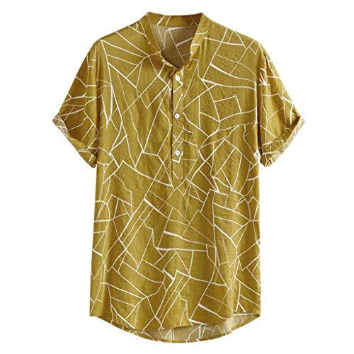 GDJGTA Shirts for Mens Multi Color Print Lump Chest Pocket Short Sleeve Round Hem Loose Shirts Blouse]()