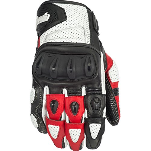 Street Bike Motorcycle Gloves (Cortech Impulse ST Adult Street Bike Motorcycle Gloves - White/Red / Medium)