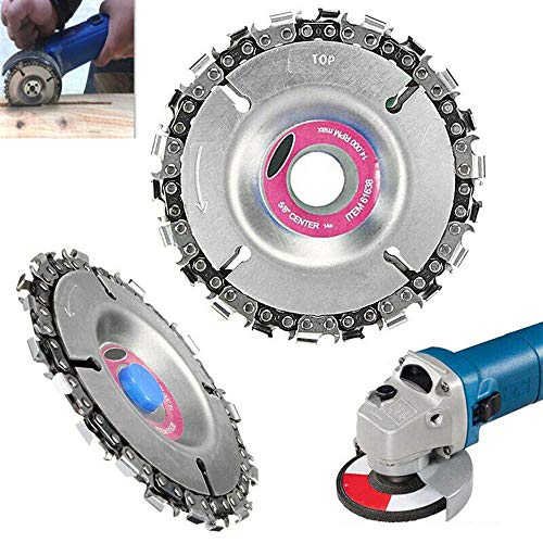 "Angle Grinder Disc 22 Tooth Chain Saw Carving Blade Plate 4"" for Wood Cutting Chainsaw Wheels Cutter 100/115mm Circular Woodworking Engraving Tool"