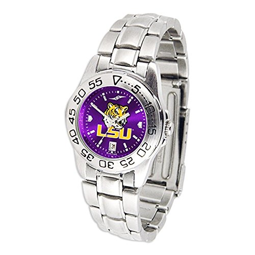 Sport Watch Tigers State Steel (SunTime Louisiana State (LSU) Tigers Sport AnoChrome Ladies Watch with Steel Band)