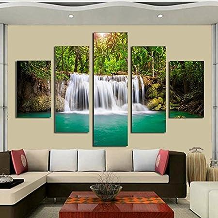 5 Panel An Der Wand Bilder Für Wohnzimmer Kunst Wasserfall Leinwand Gemälde  Modulare Bild Poster Und