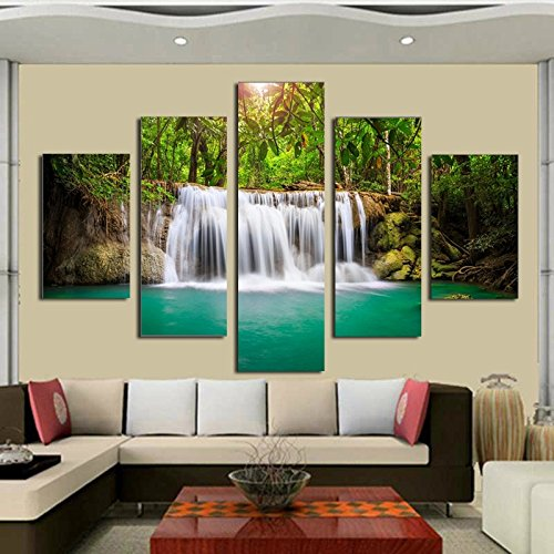 Unframed 5 panel The Moving Waterfall Large HD Home Decorative Picture Wall Art Print Modern Painting On Canvas For Living Room (Moving Waterfall)