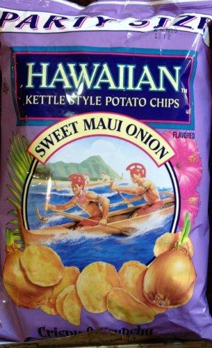 Hawaiian, Kettle Style Potato Chips, Sweet Maui Onion, Party Size, 16oz Bag (Pack of 2) (Potato Maui Onion Chips)