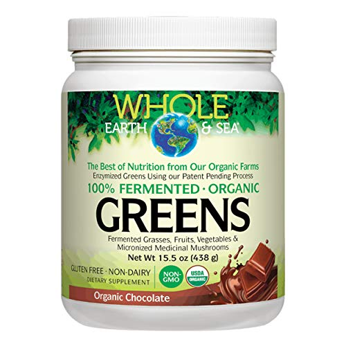 Whole Earth & Sea from Natural Factors, Organic Fermented Greens, Whole Food Supplement, Vegan, Non-Dairy, Gluten Free, Chocolate, 15.5 oz (30 Servings) (Factor 6)