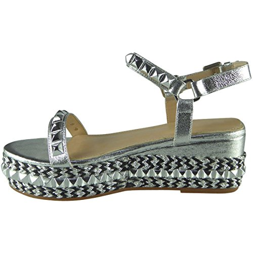 Émaillé Femmes Argent Bride Pointure Compensée Bas Espadrille Chaussures Sandales Cheville Semelle d6FCdW