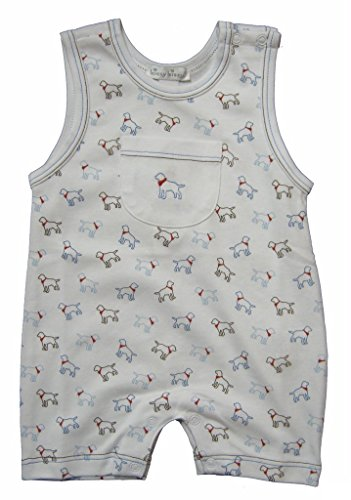 Kissy Kissy Baby-Boys Infant Puppy Love Print Sleeveless Short Playsuit-White With Blue-3-6 Months ()
