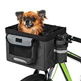 Lixada Bike Basket,Folding Pet Cat Dog Carrier Front Removable Bicycle Handlebar Basket Quick Release Easy Install Detachable Cycling Bag Mountain Picnic Shopping,Max Bearing 22 lbs