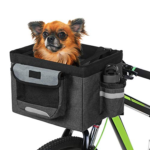 Cheapest Prices! Lixada Bike Basket,Folding Pet Cat Dog Carrier Front Removable Bicycle Handlebar Ba...