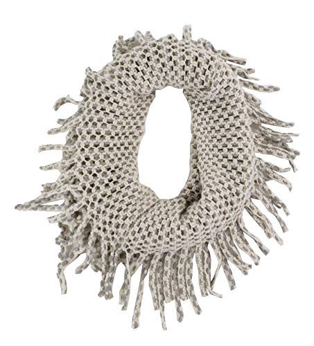 StylesILove Two Tone Womens Winter Warm Mini Tube Infinity Scarf With Fringe (One Size Fits All, Beige)