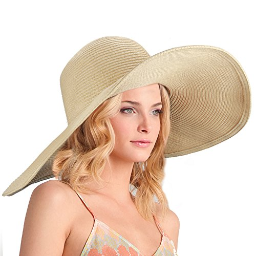 Dafunna Women's Ridge Wide Floppy Brim Sun Hat Beachwear Striped Straw Hat Foldable and - Most Hat Size Common