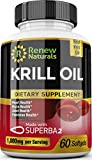 Renew Naturals 100% Pure Antarctic Krill Oil Capsules 1000mg serving w/Astaxanthin - Supports Healthy Heart Brain Joints - Omega 3 Highest Quality Supplement - 60 Softgels. 100% Money Back Guarantee!
