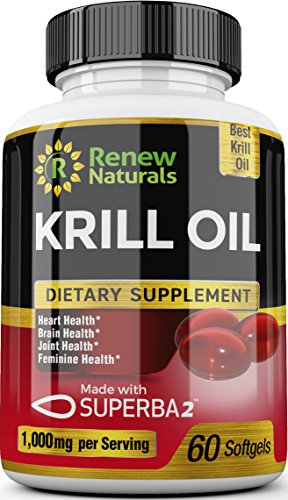 Renew Naturals Antarctic Krill Oil 1000 mg Serving with Omega-3s EPA DHA and Astaxanthin, Supports Healthy Heart Brain Joints 60 Softgels 100% Money Back Guarantee!