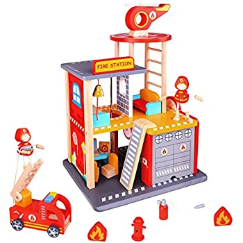 Pidoko Kids Fire Station Playset - Wooden Toy Fire House for Boys and Girls - Includes Truck, Helicopter, Firemen & Accessories