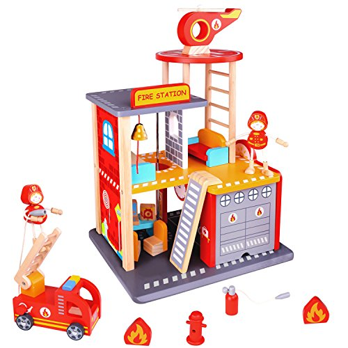 Pidoko Kids Fire Station Dollhouse Playset - Wooden Toy Fire House for Boys and Girls - Includes FireStation, Truck, Helicopter, Firemen & Accessories by Pidoko Kids