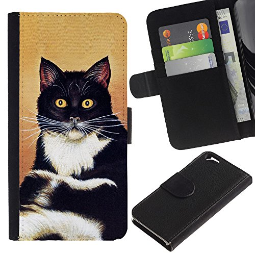 EuroCase - Apple Iphone 6 4.7 - cat sitting whiskers shorthair black white - Cuir PU Coverture Shell Armure Coque Coq Cas Etui Housse Case Cover