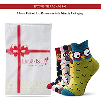 Ambielly Women Socks Cute Animal Patterned Casual Cotton Socks (Owl) at Women's Clothing store