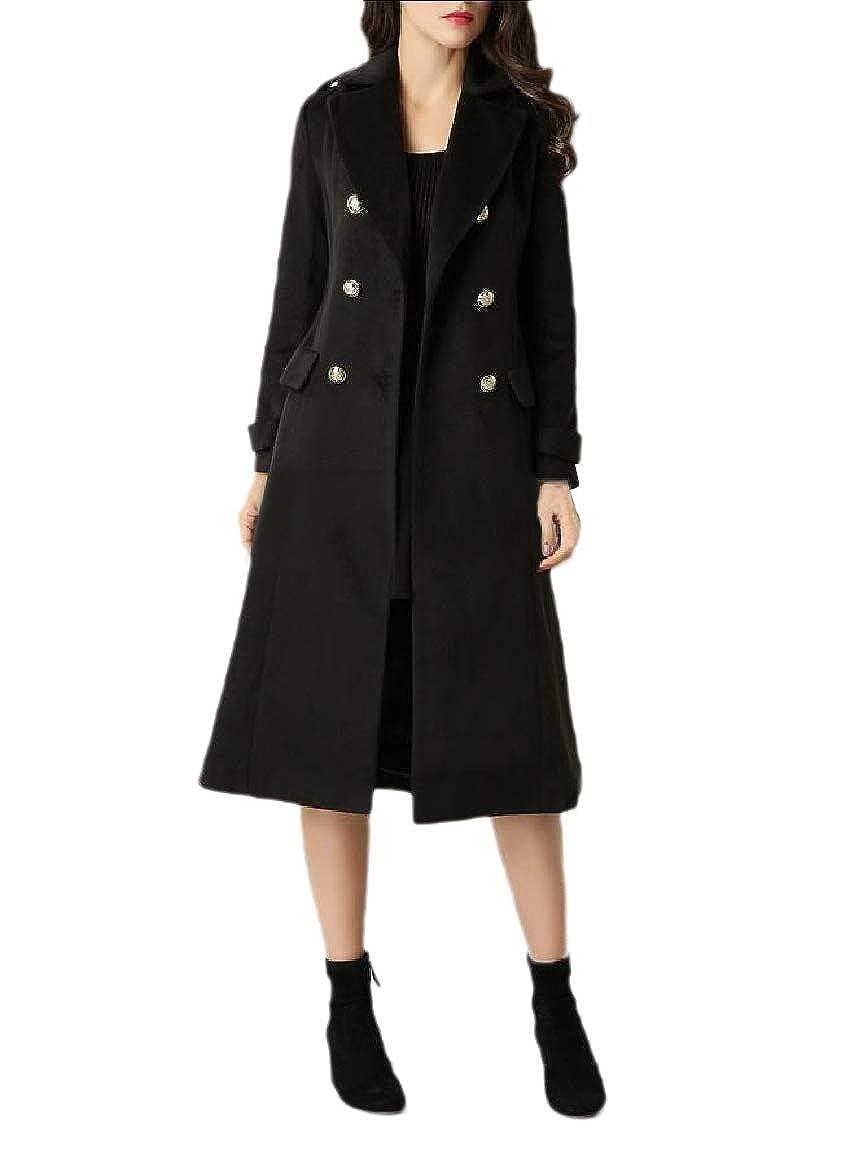 YUNY Womens Notch Lapel Wool Blend Premium Fit Cashmere Duffle Coat Black L