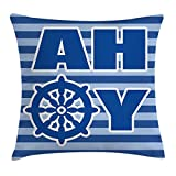 Queen Area Ahoy Its a Boy Ahoy Written Nautical Wheel Striped Nursery Wall Decor Square Throw Pillow Covers Cushion Case Sofa Bedroom Car 18x18 inch, Blue Light Blue White
