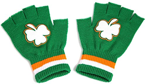 [St. Patrick's Day Shamrock Mittens Fingerless Gloves - Party Favors Accessory] (Paddys Day Costumes)