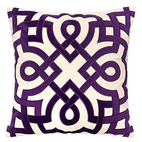 Homey Cozy Purple Throw Pillow Cover,Large Premium Applique Geometric Cotton Burlap Farmhouse Sofa Couch Pillowcase Rustic Home Decor 20x20,Cover Only