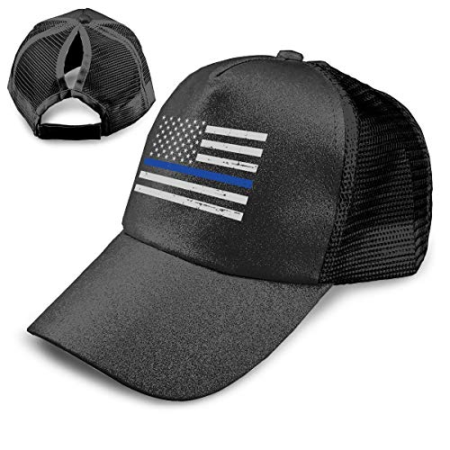(Coollifea Blue Line Flag Sequined Adjustable Ponytail Cap Ponytail Messy Buns Trucker Baseball Visor Cap)