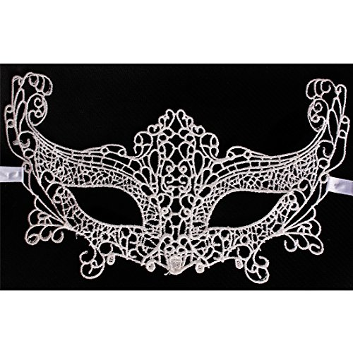[Andux Land Sexy Lace Mask with straps Fancy Halloween Party Masquerade Bar Nightclub queen Dance Mysterious Soft for eyes for Women and Girl LSMJ-01 (white #4] (Soft And Sexy Mask)