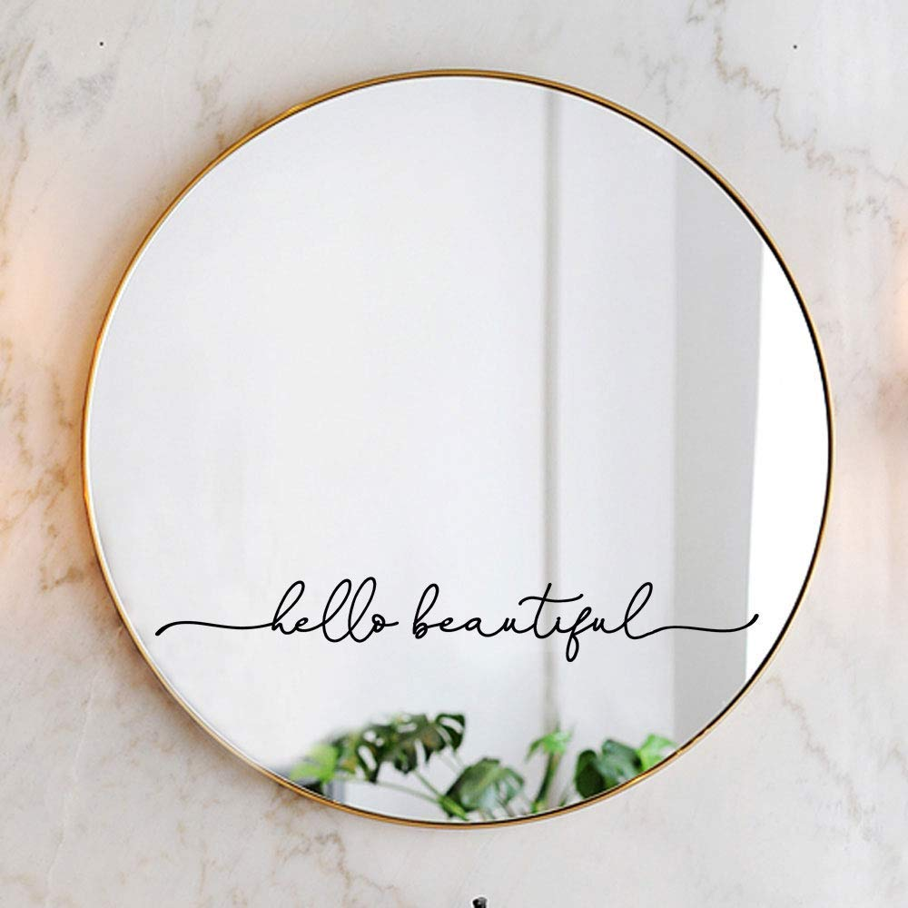 Hello Beautiful Mirror Decal Vinyl Decal Bathroom Decor 18x2.5 inch
