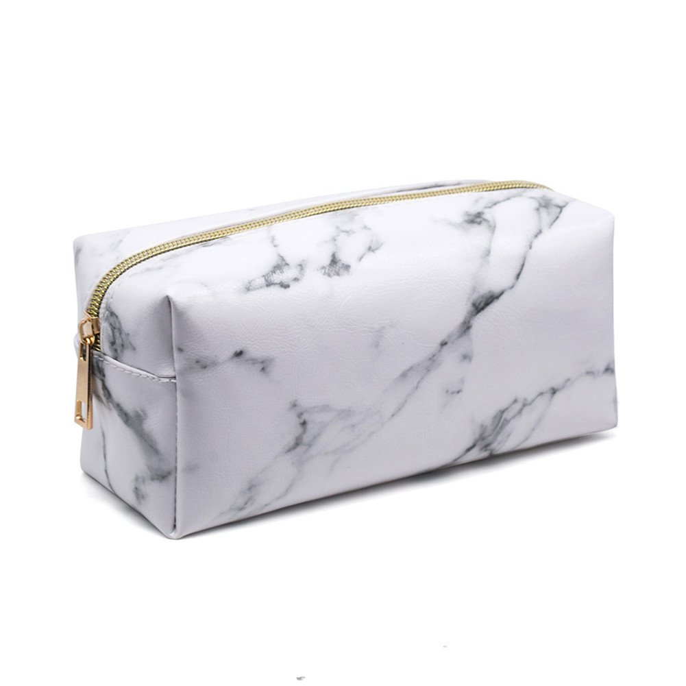 OWIKAR Makeup Toiletry Bag Organizer Portable Cosmetic Pouch Travel Brush Holder PU Handbag with Gold Zipper Pencil Storage Case for Women Purse (White)