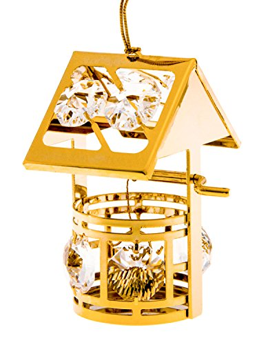 Wishing Well Movable 24k Gold Plated Metal Ornament with Spectra Crystals by Swarovski ()