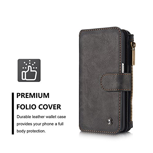 Price comparison product image Caseme Multifunction Leather Magnetic Sport Wallet Flip Case Folio Stand Case Zipper Coin Purse Card Slot Pocket Wallet Pouch for Samsung Galaxy S7 Edge