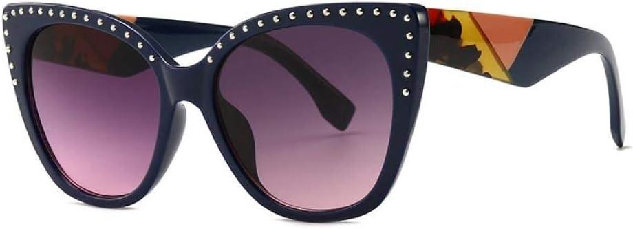 WSXOKN Lunettes de Soleil Hommes Femmes UV400 Cat Eye Luxury Diamond Brand Design Lunettes de Soleil Lunettes Shades C6 DarkBlue. Purple