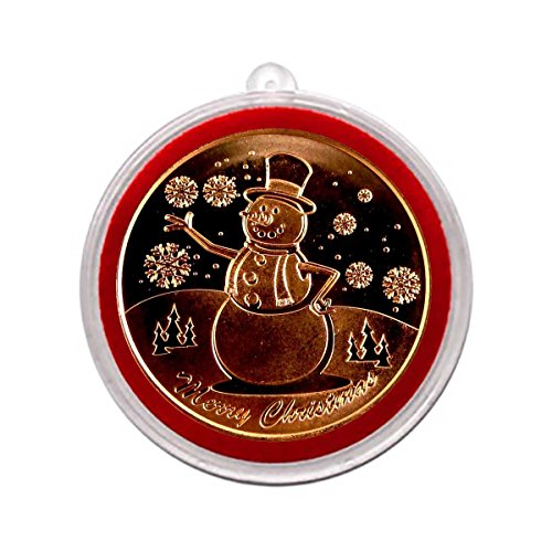 1 - Snowman Design Christmas Copper One Ounce Round with Tree Ornament Holder Copper -
