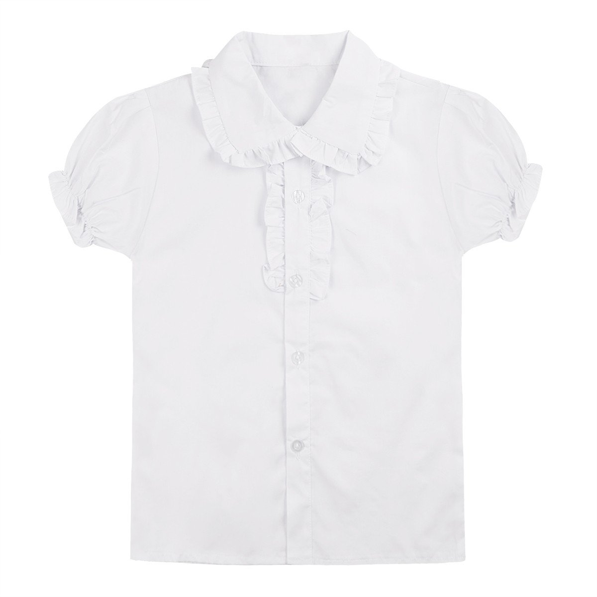 YiZYiF White School Uniform Tops Long/Short Sleeve Ruffle Collar Blouse for Little Big Girls