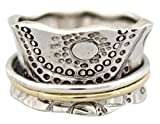 Energy Stone ''SUN WORSHIP'' Sterling Silver Meditation Spinning Ring (Style# US14) (10.5)