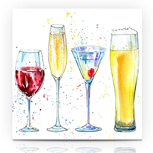 Ahawoso Canvas Print Wall Art 12x16 Inch Drawing Glass Champagne Martini Wine Beer Neckerchief Alcoholic Drink Watercolor Alcohol Bottle Modern Artwork Printing Home Decor Wrapp Gallery Painting