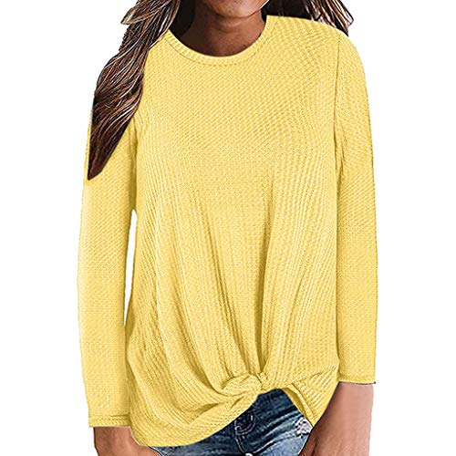 Womens Casual Long Sleeve Knot Waffle Knit Tunic Blouse Shirts Tops Sweater - Pack 95 Twin