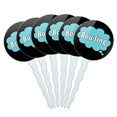 Set of 6 Cupcake Picks Toppers Decoration Dreaming Of A-F - Bowling Blue ()