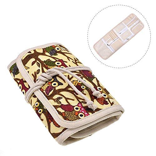 feileng キャンバス かぎ針の袋 持ち運び クラフトツール収納ポケット 編み針収納ケース プレゼント