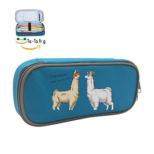 Llamas In Hats (MOPE Cute Llamas With Hats Pencil Case Double Zipper Large Storage Space Mulit-function Stationary Portable Makeup)