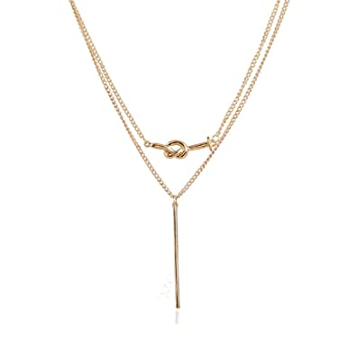 fb1cc85a3 Amazon.com: CHOA Kont And Bar Double Layer Bar Necklace - Sterling Silver Love  Heart Knot Pendant Necklace for Girl Women (GOLD): Jewelry